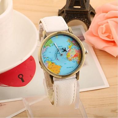 Χαμηλού Κόστους Ανδρικά ρολόγια-Γυναικεία Ανδρικά Για Ζευγάρια Μοδάτο Ρολόι Χαλαζίας Καθημερινό Ρολόι Ύφασμα Μπάντα Παγκόσμιος Χάρτης PatternΜαύρο Λευκή Μπλε Κόκκινο