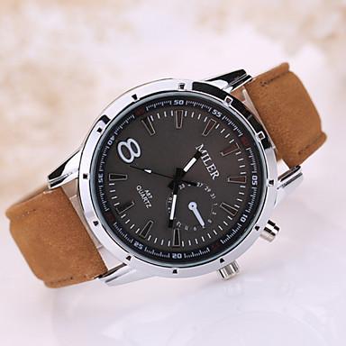 남성 스포츠 시계 손목 시계 캐쥬얼 시계 석영 가죽 밴드 블랙 브라운