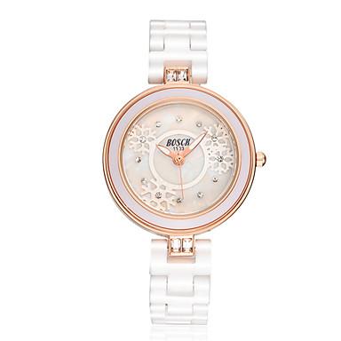 여성용 패션 시계 모조 다이아몬드 시계 석영 방수 캐쥬얼 시계 세라믹 밴드 화이트