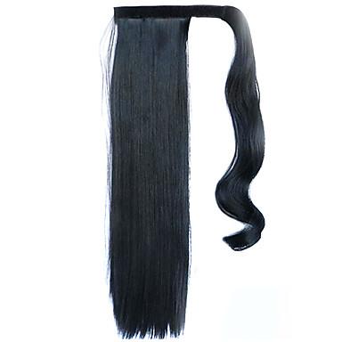 fekete 60cm szintetikus magas hőmérsékletű vezetékes paróka egyenes haj lófarok szín 1