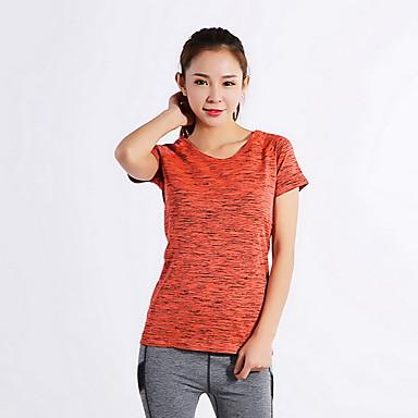 여성용 러닝 티셔츠 통기성 압축 땀 흡수 기능성 소재 탑스 용 운동&피트니스 달리기 오렌지 S M L XL