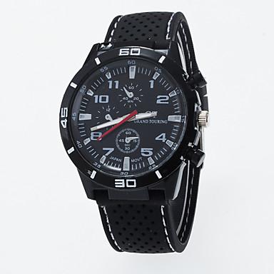 남성 패션 시계 캐쥬얼 시계 석영 실리콘 밴드 블랙