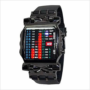 Férfi Női Páros Divatos óra LED Digitális Gumi Zenekar Fekete