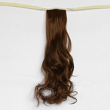 물 파도 매체 갈색 합성 붕대 형 머리 가발 포니 테일 (색상 27)