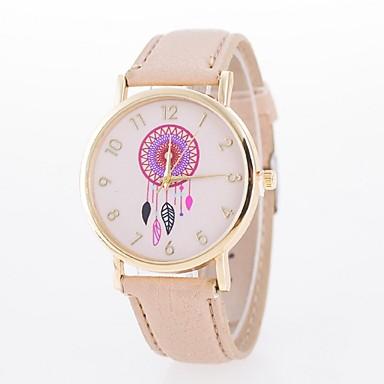 아가씨들 패션 시계 캐쥬얼 시계 석영 PU 밴드 블랙 화이트 블루 레드 브라운 그린 핑크 퍼플 로즈