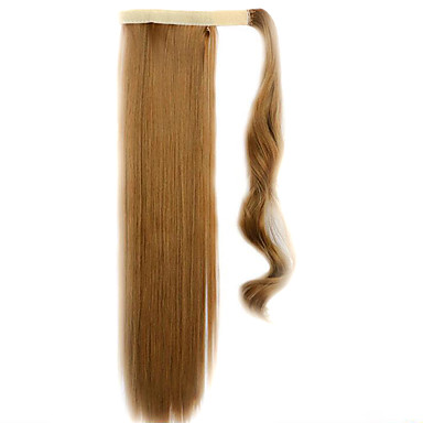 갈색 60cm 합성 고온 와이어 가발 스트레이트 머리를 포니 테일 컬러 27J