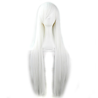 Mulheres Perucas sintéticas Reto Branco Peruca para Cosplay Peruca de Halloween Peruca de carnaval Peruca para Fantasia