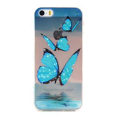 Case Kompatibilitás iPhone SE/5s/5 iPhone 5 Apple iPhone 5 tok Ultra-vékeny Átlátszó Minta Fekete tok Pillangó Puha TPU mert iPhone SE /