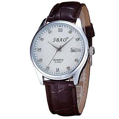 커플용 패션 시계 캐쥬얼 시계 석영 PU 밴드 브라운