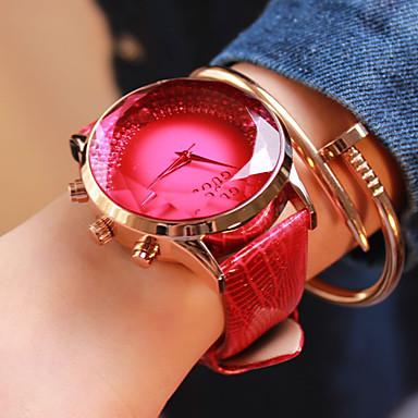 여성용 패션 시계 석영 일본 쿼츠 캐쥬얼 시계 가죽 밴드 블루 레드 퍼플
