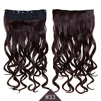Klip szintetikus 1db 24inch 60cm haj nő nagy hullám hosszú göndör haj kiterjesztések # 33 színes szintetikus haj sző