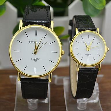커플용 패션 시계 석영 캐쥬얼 시계 PU 밴드 블랙 브라운