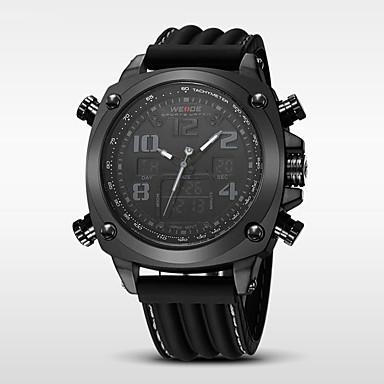 levne Pánské-WEIDE Pánské Sportovní hodinky Křemenný Silikon Černá 30 m Voděodolné Alarm Kalendář Analog - Digitál Luxus - Černá Stříbrná / černá Bílá / Stříbrná / Nerez / Hodinky s dvojitým časem / Stopky