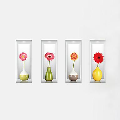 Virágok Falimatrica 3D-s falmatricák Dekoratív falmatricák,PVC Anyag Mosható / Eltávolítható / Újra-pozícionálható lakberendezésifali