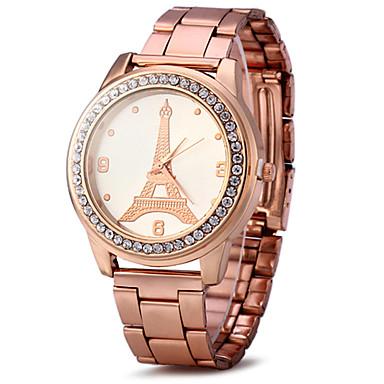 Női Szimulált Gyémánt Karóra Ruha óra Divatos óra Kvarc / utánzat Diamond Rózsa arany bevonattal Rozsdamentes acél Zenekar Szikra Eiffel