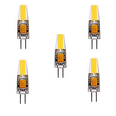 Ywxlight® 5 pcs 5 w 200-300lm g4 levou bi-pin luzes cob chip 360 ângulo de feixe de luzes substituir 30 w halogênio g4 holofotes ac / dc12-24v