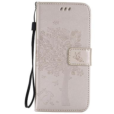 Недорогие Чехлы и кейсы для Galaxy S3 Mini-Кейс для Назначение SSamsung Galaxy S7 edge / S7 / S6 edge plus Кошелек / Бумажник для карт / со стендом Чехол дерево Мягкий Кожа PU