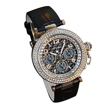 Női Divatos óra Szimulált Gyémánt Karóra Kvarc Japán kvarc Alkalmi óra Bőr Zenekar Luxus Fekete Fehér Piros