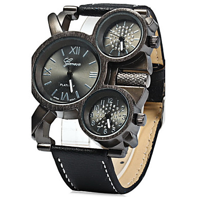 Men's Quartz Military Watch Three Time Zones Leather Band Cool Black Blue Red