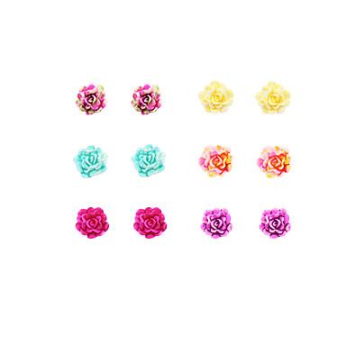 Ékszer készlet Beszúrós fülbevalók Régies (Vintage) Punk stílus Imádni való Színes Divat Gyanta Flower Shape Geometric ShapeRózsaszín és
