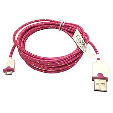 Împletite 3m material 10ft țesut micro încărcare cablu de date cablu de sincronizare pentru Samsung HTC Sony USB (Rose)