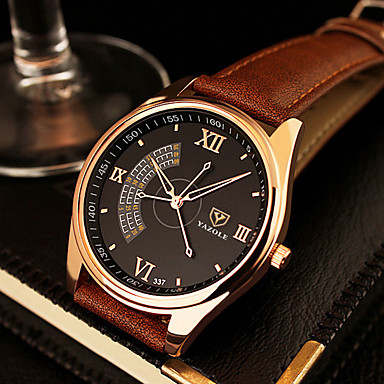 YAZOLE Men's Dress Watch Quartz Casual Watch Leather Band Charm Black Brown