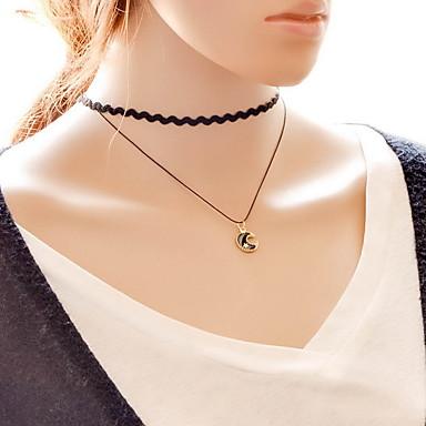 Női MOON Szexi Divat Rövid nyakláncok Nyaklánc medálok Csipke Anyag Rövid nyakláncok Nyaklánc medálok , Napi Hétköznapi