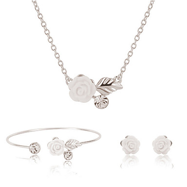 Mulheres Conjunto de jóias - Flor Incluir Colar / Pulseira Colar / Brincos Prata Para Casamento Festa Diário / Colares / Bracelete
