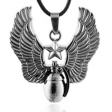 férfi titán acél váz nyaklánc, rozsdamentes acél medál bőr kábelt nyaklánc - terjedését sas gránátok