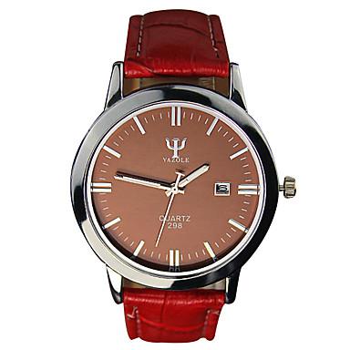남성용 손목 시계 패션 시계 석영 캐쥬얼 시계 PU 밴드 멋진 블랙 화이트 레드 브라운