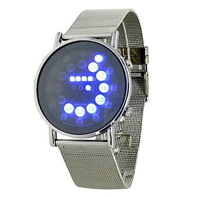 남성용 스포츠 시계 디지털 LED 야광 합금 밴드 참 실버