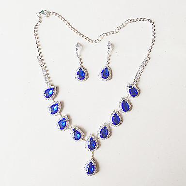Nyaklánc / fülbevaló Ezüstözött Kék Aranyozott Nyakláncok Naušnice Mert Esküvő Parti 1set Esküvői ajándékok