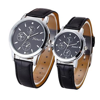 커플용 드레스 시계 패션 시계 석영 캐쥬얼 시계 가죽 밴드 빈티지 블랙 브라운