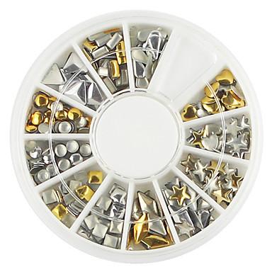 1 paletta különböző alakú arany ezüst köröm díszítés