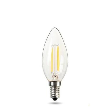 1 buc 2 W Becuri LED Lumânare Bec Filet LED 150-220 lm E14 C35 2 LED-uri de margele COB Decorativ Alb Cald Alb 220-240 V / 1 bc