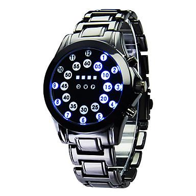 Férfi Sportos óra Digitális LED Naptár Világítás Rozsdamentes acél Zenekar Luxus Fekete