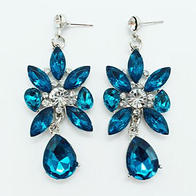 여성용 크리스탈 드랍 귀걸이 - 크리스탈, 은 도금 드롭, 꽃장식 개인화, 빈티지, 유럽의 블루 제품 파티 / 일상 / 캐쥬얼
