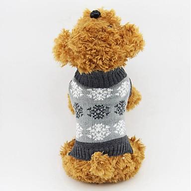 고양이 강아지 스웨터 강아지 의류 눈송이 그레이 커피 면 코스츔 애완 동물 남성용 여성용 클래식 따뜻함 유지