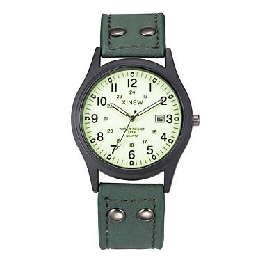 זול שעוני גברים-בגדי ריקוד גברים שעונים צבאיים חותם הים קווארץ עור שחור / תפוז / חום לוח שנה אנלוגי יום יומי אריסטו - ירוק חאקי פלואורסצנטי שנה אחת חיי סוללה / מתכת אל חלד / SSUO 377