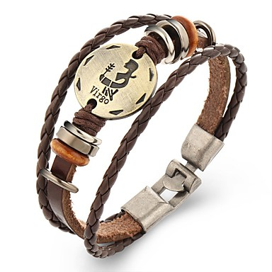 Men's Leather Bracelet Punk Leather Alloy Round Jewelry Daily Casual Costume Jewelry H I J K L