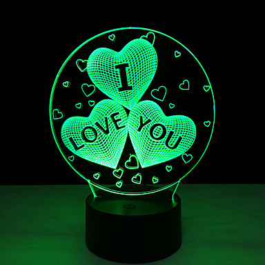 ακρυλικό χρώμα 7 χρέωση αλλαγή usb 3d καρδιά αγαπώ οδήγησε τη νύχτα φως με 3d φωτεινή διακόσμηση νύχτας επιτραπέζιο φωτιστικό