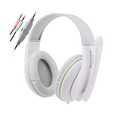 SADES SA701 귀 이상 머리띠 유선 헤드폰 동적 플라스틱 게임 이어폰 소음 차단 마이크 포함 볼륨 컨트롤 헤드폰