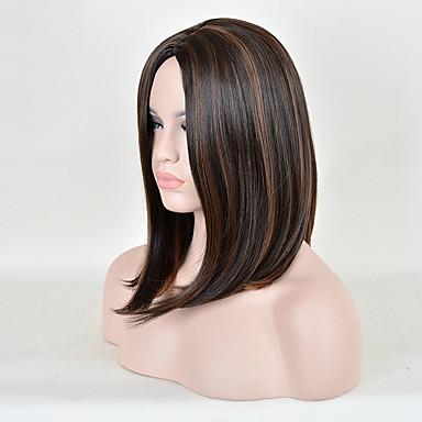 Női Szintetikus parókák Rövid Közepes Egyenes Barna Ombre haj Természetes paróka jelmez paróka