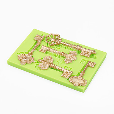 케이크 장식 금형 바로크 빈티지 키 실리콘 사탕 금형 초콜릿 폴리머 퐁드 도구 색상 랜덤
