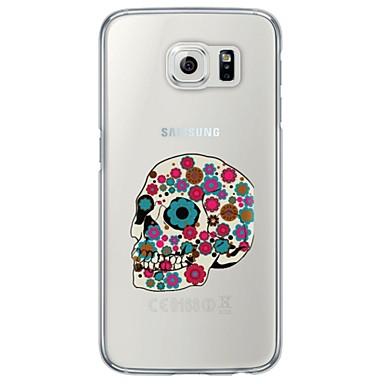 Недорогие Чехлы и кейсы для Galaxy S6 Edge-Кейс для Назначение SSamsung Galaxy S7 edge / S7 / S6 edge plus Ультратонкий / Полупрозрачный Кейс на заднюю панель Черепа Мягкий ТПУ