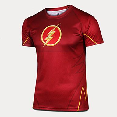 남성용 러닝 티셔츠 짧은 소매 빠른 드라이 통기성 땀 흡수 기능성 소재 편안함 티셔츠 츄리닝 상의 용 운동&피트니스 달리기 나이론 친론 단단히 레드 L XL XXL XXXL 4XL