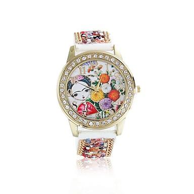 여성용 석영 손목 시계 / 모조 다이아몬드 가죽 밴드 꽃 패션 레드