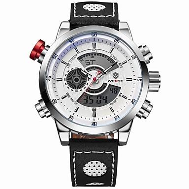 WEIDE Homens Relógio de Pulso Quartzo Quartzo Japonês Alarme Calendário Cronógrafo Impermeável Relógio Esportivo Dois Fusos Horários LCD