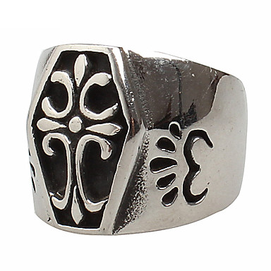Vallomás gyűrűk Titanium Acél Cross Shape Régies (Vintage) Divat Ezüst Ékszerek Parti Napi Hétköznapi 1db