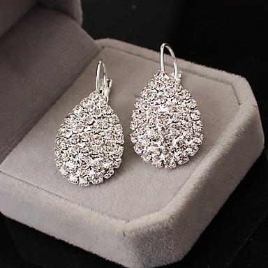 a5121be7a72 Mulheres Brincos Curtos Brincos Compridos Strass Imitações de Diamante  Brincos Caído senhoras Luxo Fashion Jóias Prata